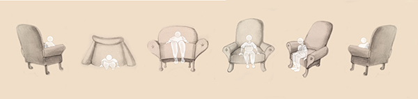 Easy chairs in a row, various views, with pale people sitting in them/