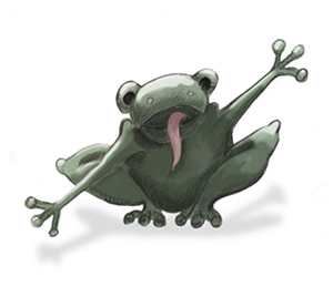 cartoon frog arms wide in excitment